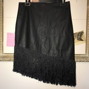 NWOT Express faux black leather skirt size 8